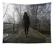 Woman Walking On A Bridge Tapestry