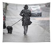 Woman Walking On The Street Tapestry