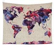 World Map Watercolor Tapestry
