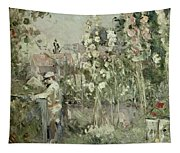 Young Boy In The Hollyhocks Tapestry