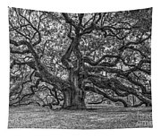 Angel Oak Tree In Black And White Tapestry