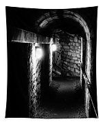 Altered Image Of The Catacomb Tunnels In Paris France Tapestry