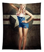 American Fashion Model In Military Pin-up Style Tapestry
