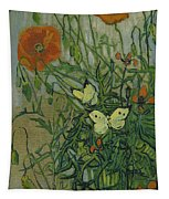 Butterflies And Poppies Tapestry