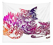 3 Cats Purple Tapestry