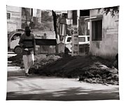 Digging A Ditch At The Side Of A Road In Roorkee Tapestry