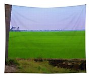 Green Fields With Birds Tapestry