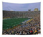 High Angle View Of A Football Stadium Tapestry