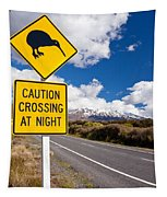Kiwi Crossing Road Sign And Volcano Ruapehu Nz Tapestry