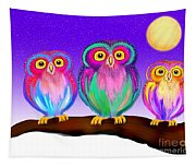 3 Little Owls In The Moonlight Tapestry