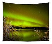 Northern Lights Mirrored On Lake Tapestry