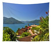 Panoramic View Over An Alpine Lake Tapestry
