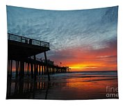 Sunset At Pismo Beach Pier Tapestry
