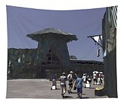 Visitors Heading Towards The Waterworld Attraction Tapestry