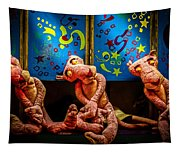 3 Wet Pink Panthers Tapestry