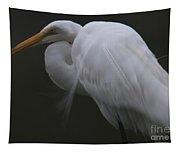White Heron Portrait Tapestry