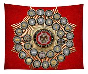 33 Scottish Rite Degrees On Red Leather Tapestry