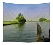 Captain Of The Houseboat Surveying Canal Tapestry