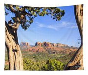 Cathedral Rock Framed By Juniper In Sedona Arizona Tapestry