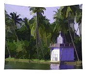 Church Located Next To A Canal Tapestry