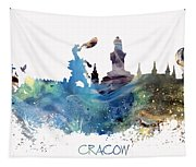 Cracow City Skyline Tapestry
