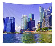 Financial District Of Singapore And View Of The Water In Singapore Tapestry