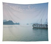 Islands And Boat In The Pacific Ocean Tapestry