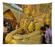 4 M Tall Sitting Buddha With Thick Layer Of Golden Leaves In Mahamuni Pagoda Mandalay Myanmar Tapestry