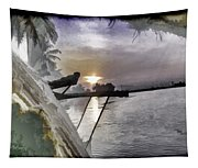 View Of Sunrise From Boat Tapestry