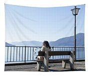 Woman Sitting On A Bench Tapestry