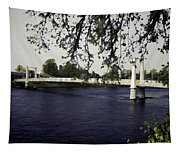 A Wonderful Suspension Bridge Over The River Ness In Inverness Tapestry