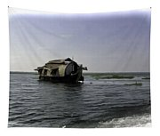 Digital Oil Painting - A Houseboat Moving Placidly Through A Coastal Lagoon In Alleppey Tapestry