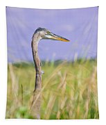 Great Blue Heron On The Prairie Tapestry