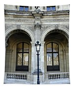 Ornate Architectural Artwork On The Buildings Of The Musee Du Louvre In Paris France Tapestry
