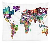 Text Map Of The World Tapestry