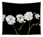 5 White Roses On Black Tapestry