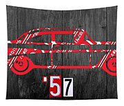 57 Chevy License Plate Art Tapestry