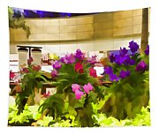 Beautiful Flowers Inside The Changi Airport In Singapore Tapestry