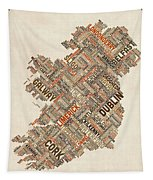 Ireland Eire City Text Map Tapestry by Michael Tompsett