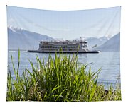 Passenger Ship On An Alpine Lake Tapestry
