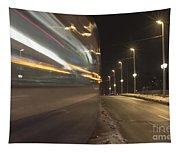 Tram At Night Tapestry