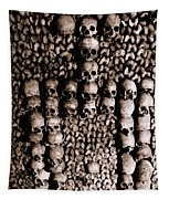 Skulls And Bones In The Catacombs Of Paris France Tapestry