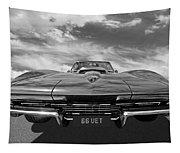 66 Vette Stingray In Black And White Tapestry