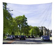 Cars On A Street In Edinburgh Tapestry