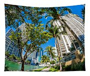 Downtown Miami Brickell Fisheye Tapestry