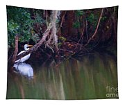 Great White Heron At Waters Edge Tapestry