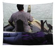 Lady Sleeping While Boatman Steers Tapestry
