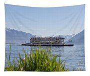Passenger Ship On An Alpine Lake Tapestry