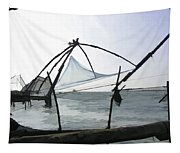 Fishing Nets On The Sea Coast In Alleppey Tapestry