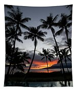 Silhouette Of Palm Trees At Dusk Tapestry